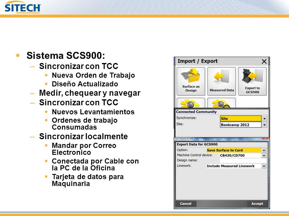 Sistema SCS900: Sincronizar con TCC Medir, chequear y navegar