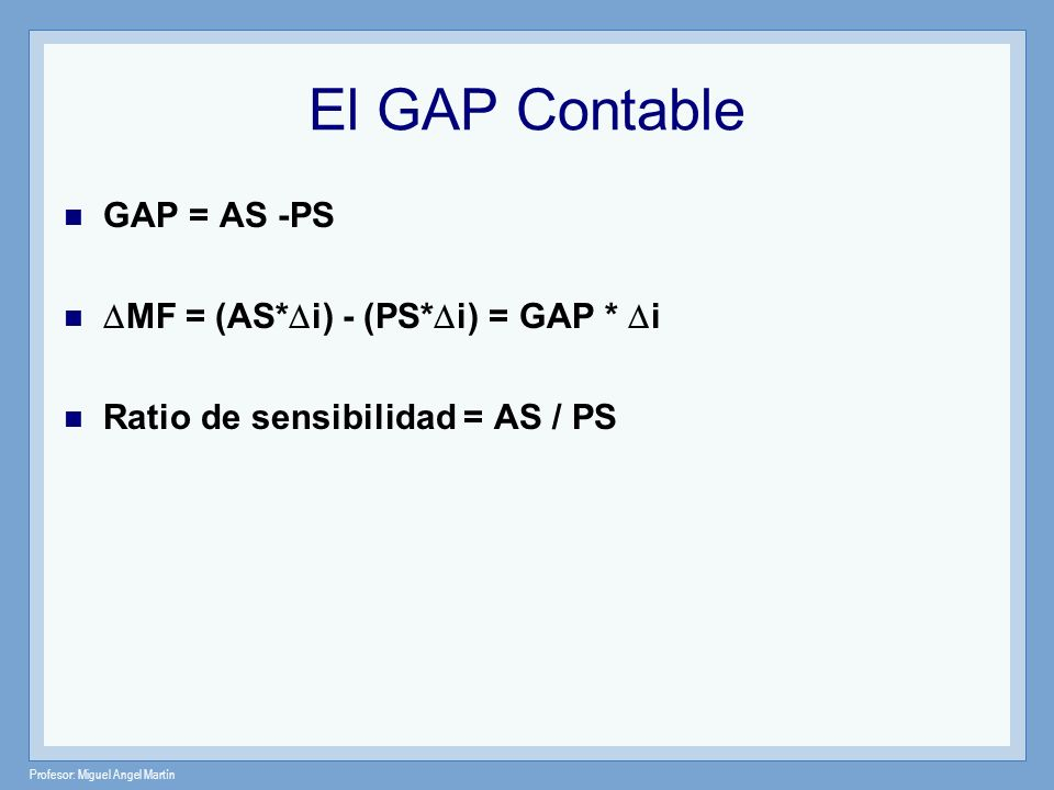 El GAP Contable GAP = AS -PS MF = (AS*i) - (PS*i) = GAP * i