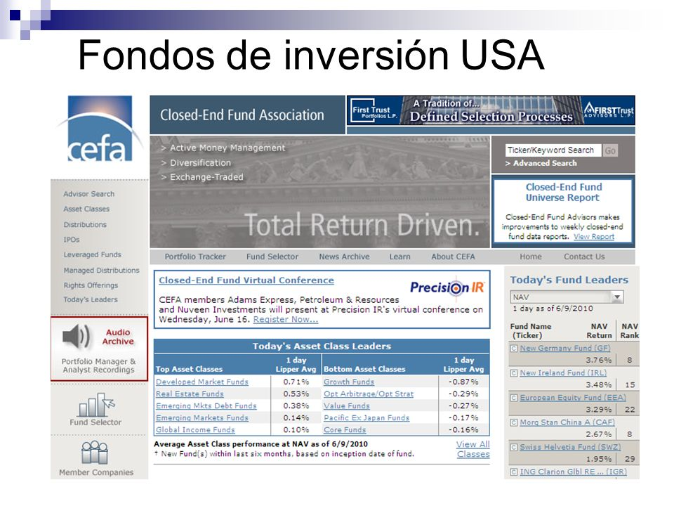 Fondos de inversión USA