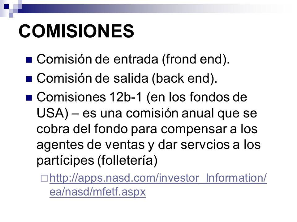 COMISIONES Comisión de entrada (frond end).