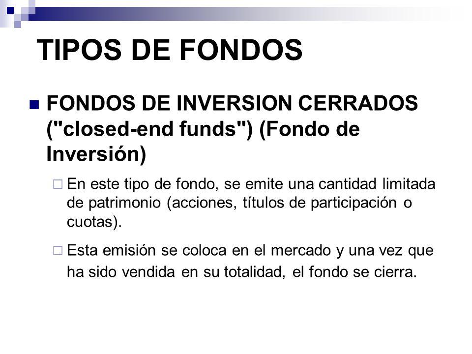 TIPOS DE FONDOSFONDOS DE INVERSION CERRADOS ( closed-end funds ) (Fondo de Inversión)