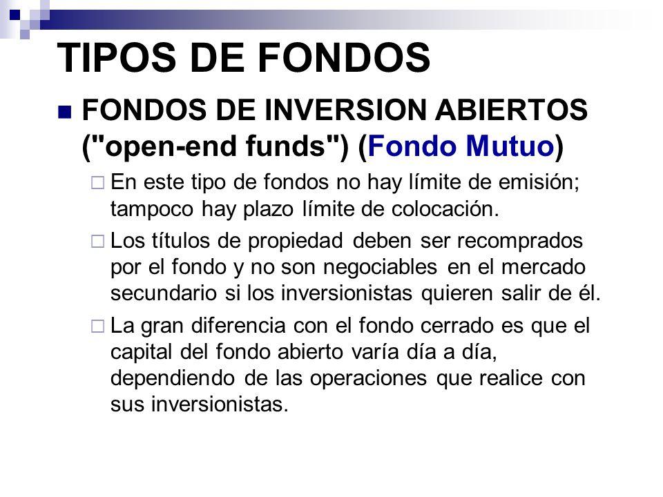 TIPOS DE FONDOS FONDOS DE INVERSION ABIERTOS ( open-end funds ) (Fondo Mutuo)