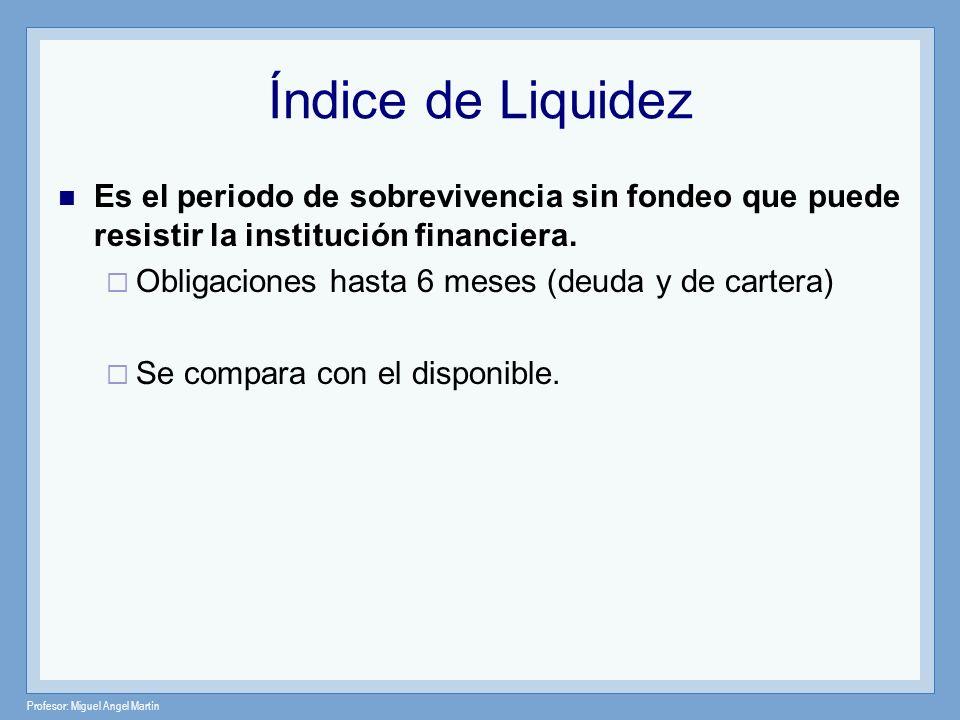 Índice de Liquidez Es el periodo de sobrevivencia sin fondeo que puede resistir la institución financiera.