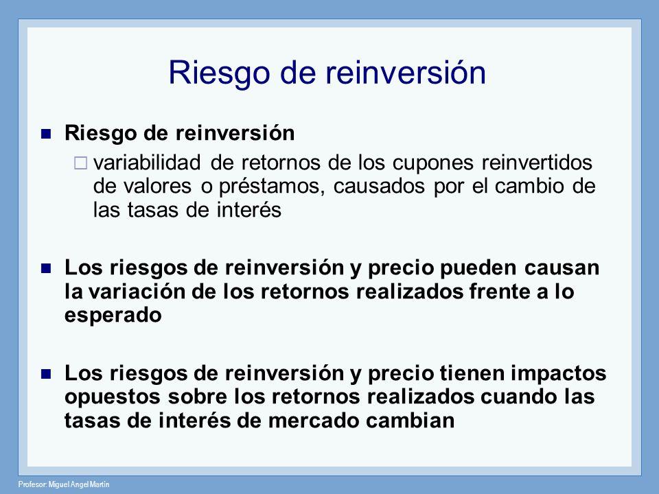 Riesgo de reinversión Riesgo de reinversión