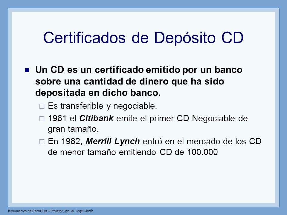 Certificados de Depósito CD