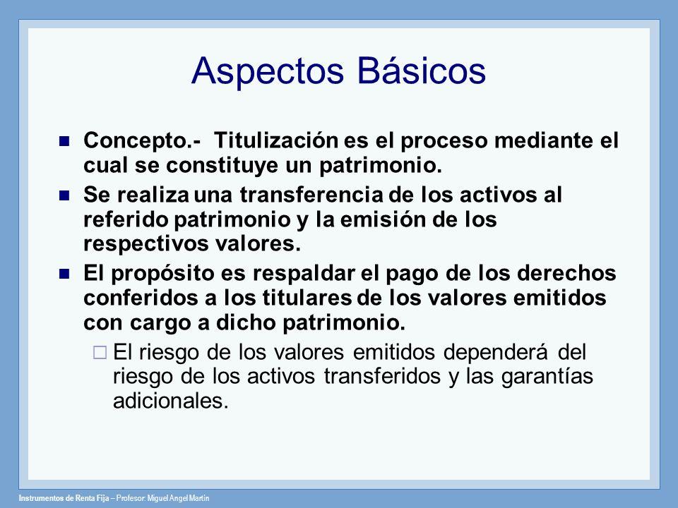 Aspectos Básicos Concepto.- Titulización es el proceso mediante el cual se constituye un patrimonio.