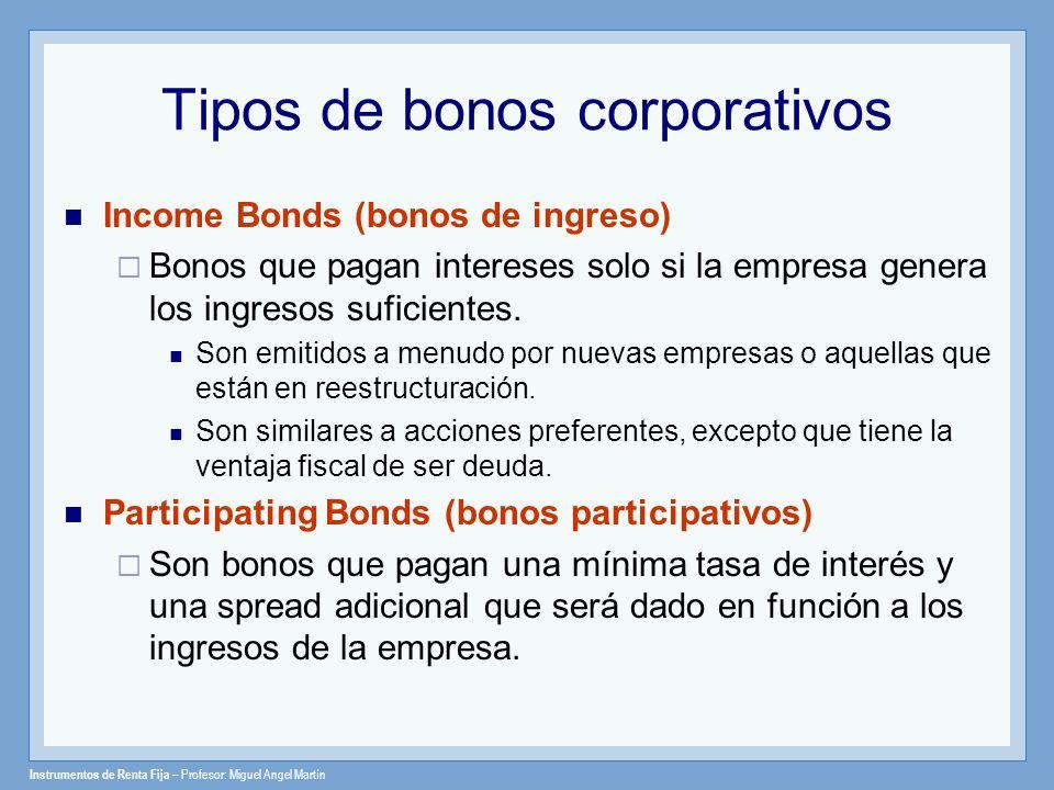 Tipos de bonos corporativos