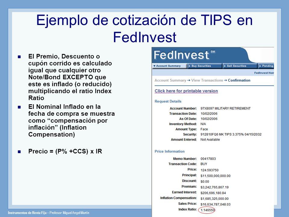 Ejemplo de cotización de TIPS en FedInvest