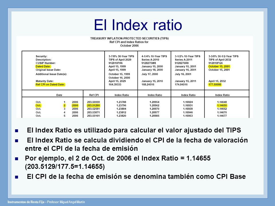 El Index ratio El Index Ratio es utilizado para calcular el valor ajustado del TIPS.