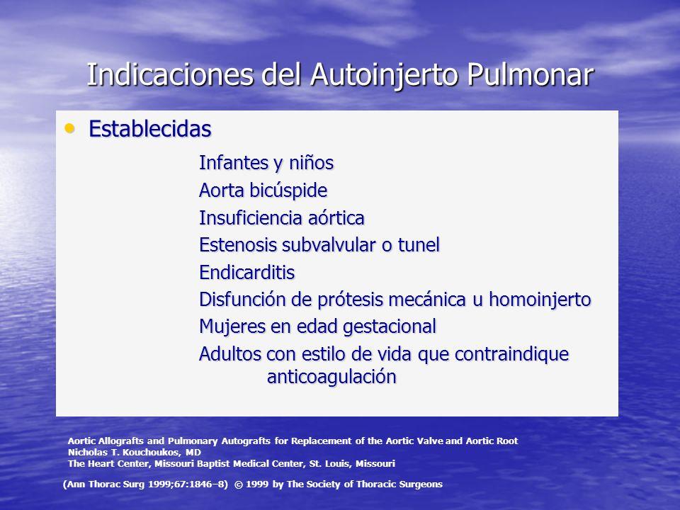 Indicaciones del Autoinjerto Pulmonar