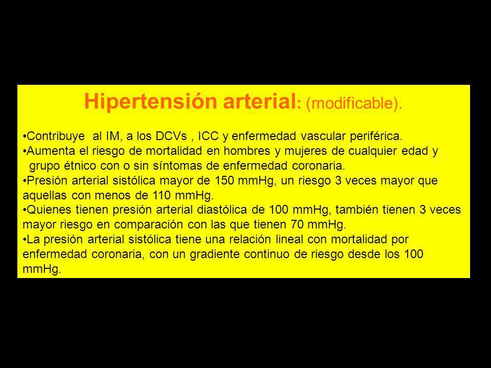 Hipertensión arterial: (modificable).