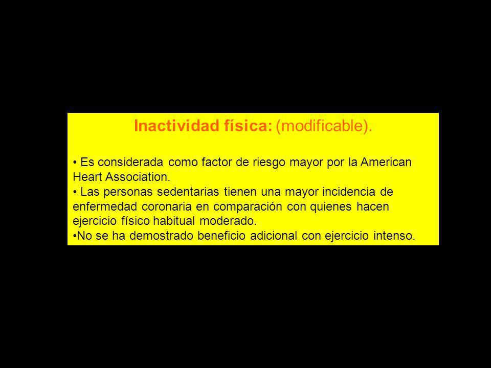 Inactividad física: (modificable).