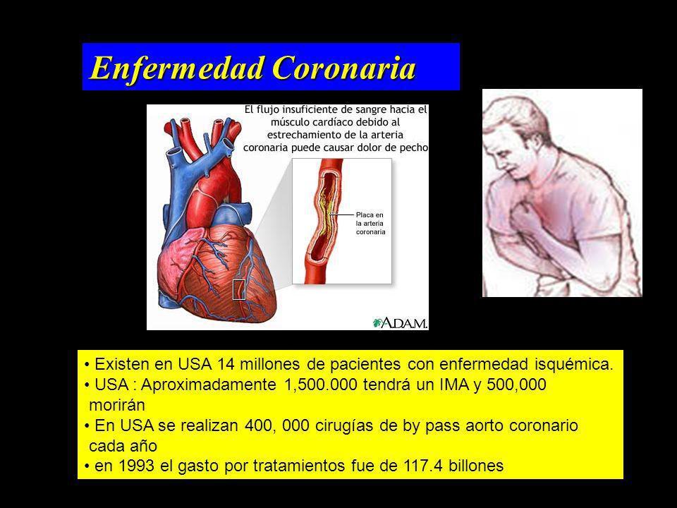 Enfermedad Coronaria Existen en USA 14 millones de pacientes con enfermedad isquémica. USA : Aproximadamente 1,500.000 tendrá un IMA y 500,000.