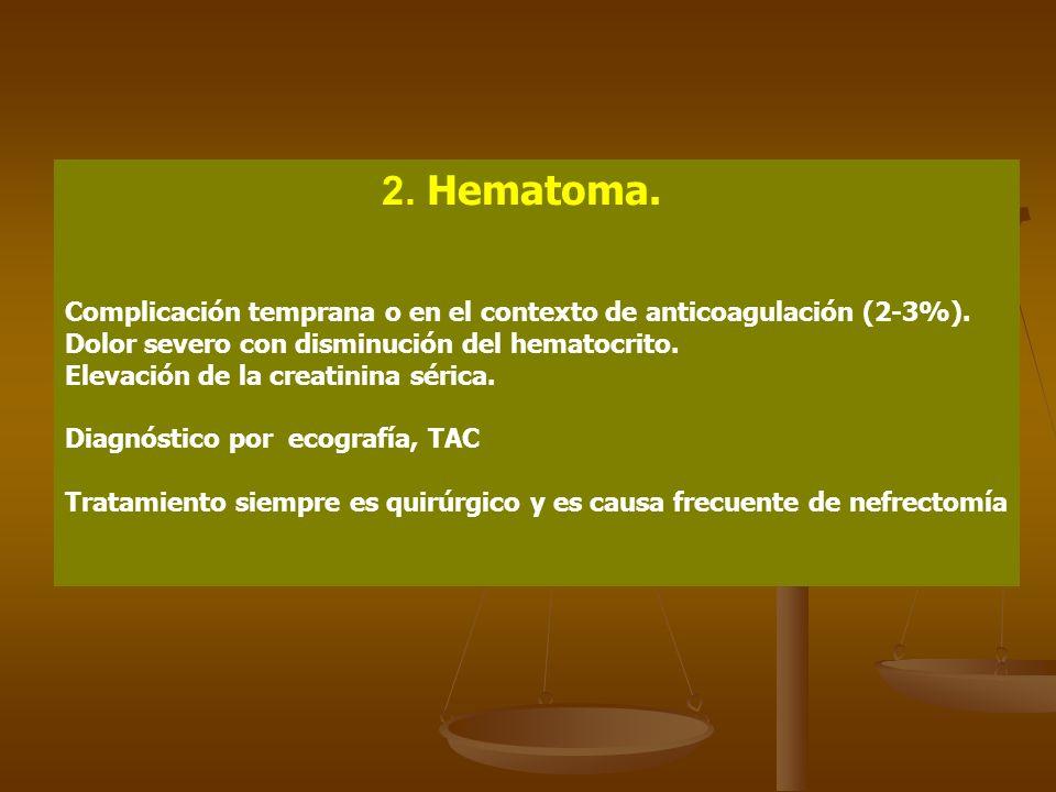 2. Hematoma. Complicación temprana o en el contexto de anticoagulación (2-3%). Dolor severo con disminución del hematocrito.
