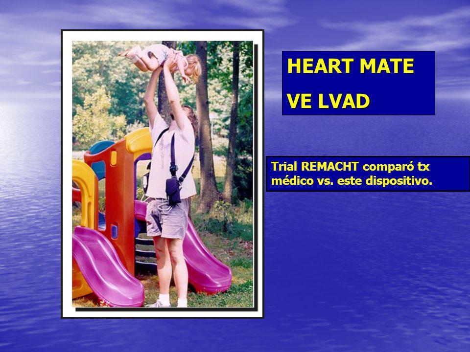 HEART MATE VE LVAD Trial REMACHT comparó tx médico vs. este dispositivo.