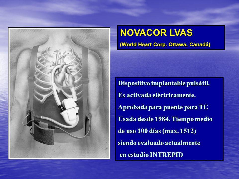 NOVACOR LVAS Dispositivo implantable pulsátil.