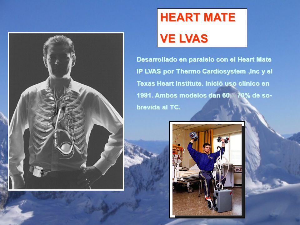 HEART MATE VE LVAS Desarrollado en paralelo con el Heart Mate