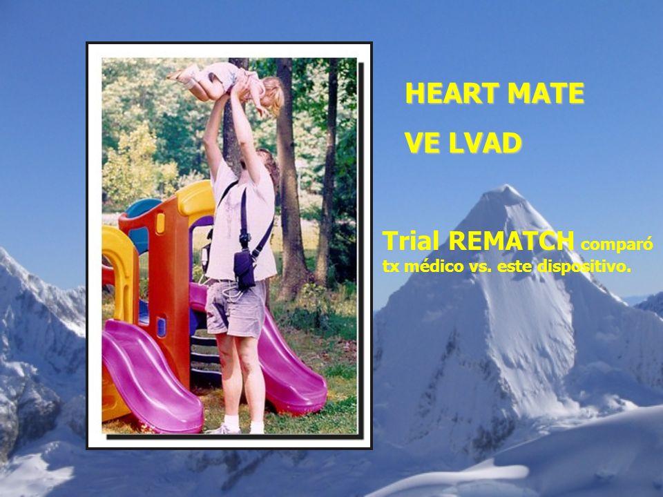 HEART MATE VE LVAD Trial REMATCH comparó tx médico vs. este dispositivo.