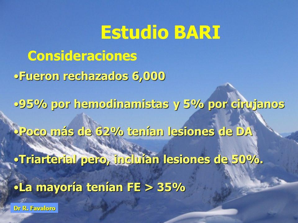 Estudio BARI Consideraciones Fueron rechazados 6,000