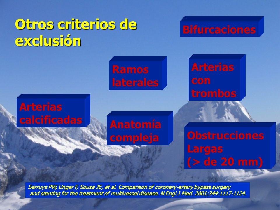 Otros criterios de exclusión Bifurcaciones Arterias Ramos con