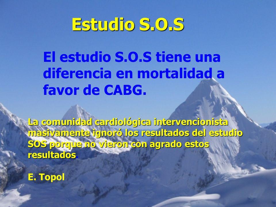 Estudio S.O.S El estudio S.O.S tiene una diferencia en mortalidad a favor de CABG. La comunidad cardiológica intervencionista.