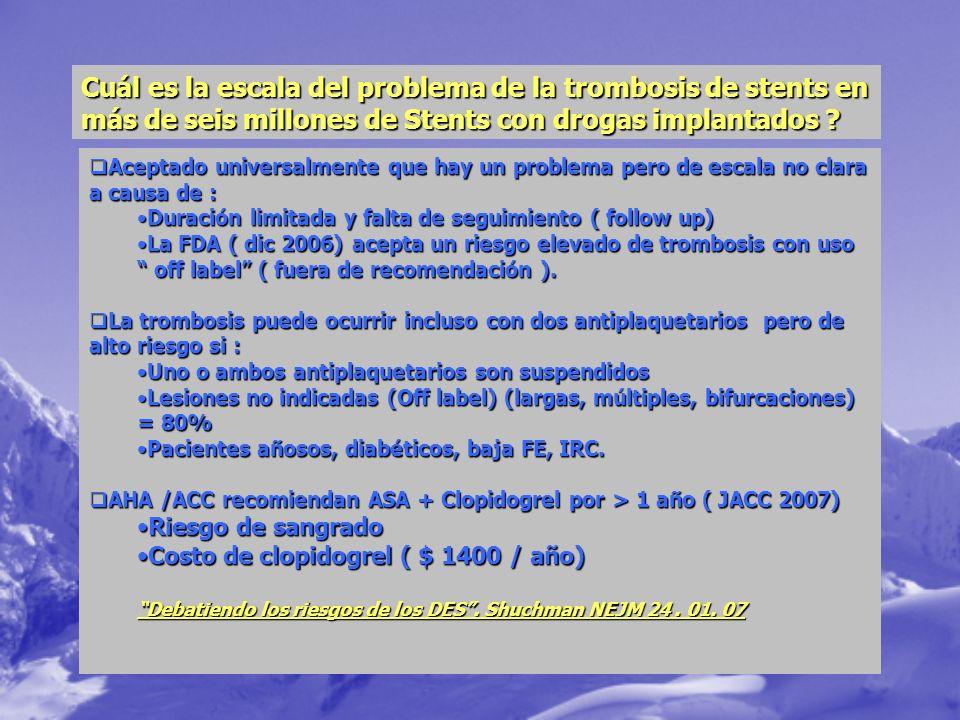 Cuál es la escala del problema de la trombosis de stents en más de seis millones de Stents con drogas implantados