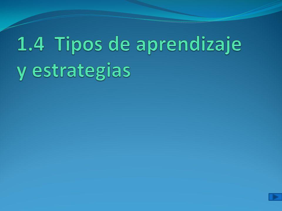 1.4 Tipos de aprendizaje y estrategias