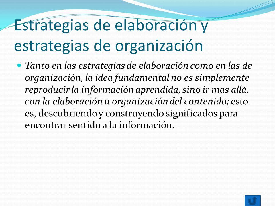 Estrategias de elaboración y estrategias de organización