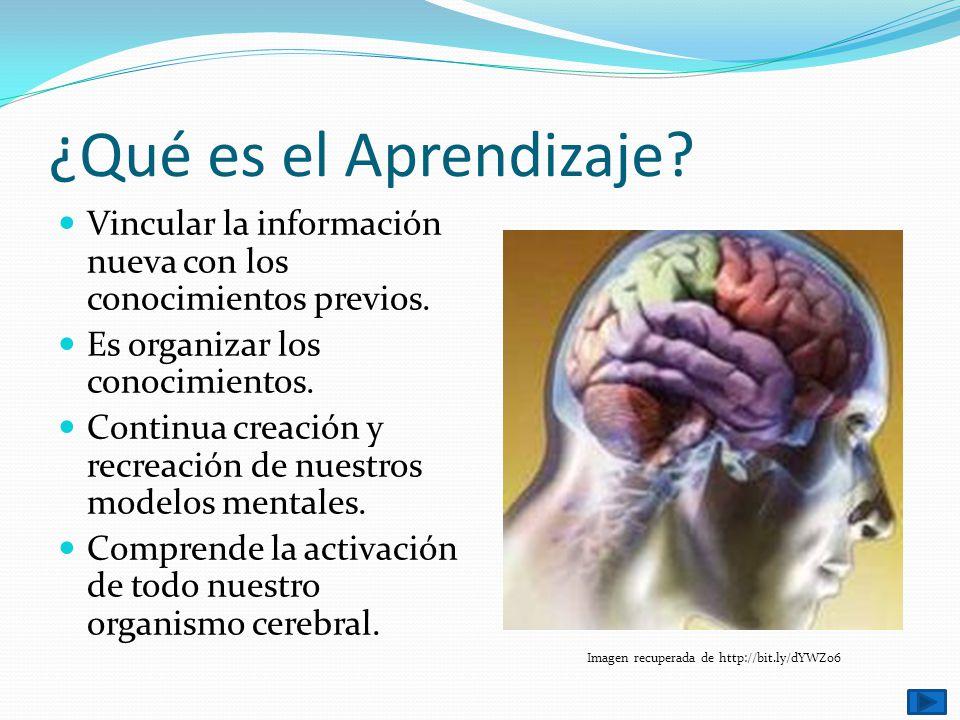 ¿Qué es el Aprendizaje Vincular la información nueva con los conocimientos previos. Es organizar los conocimientos.