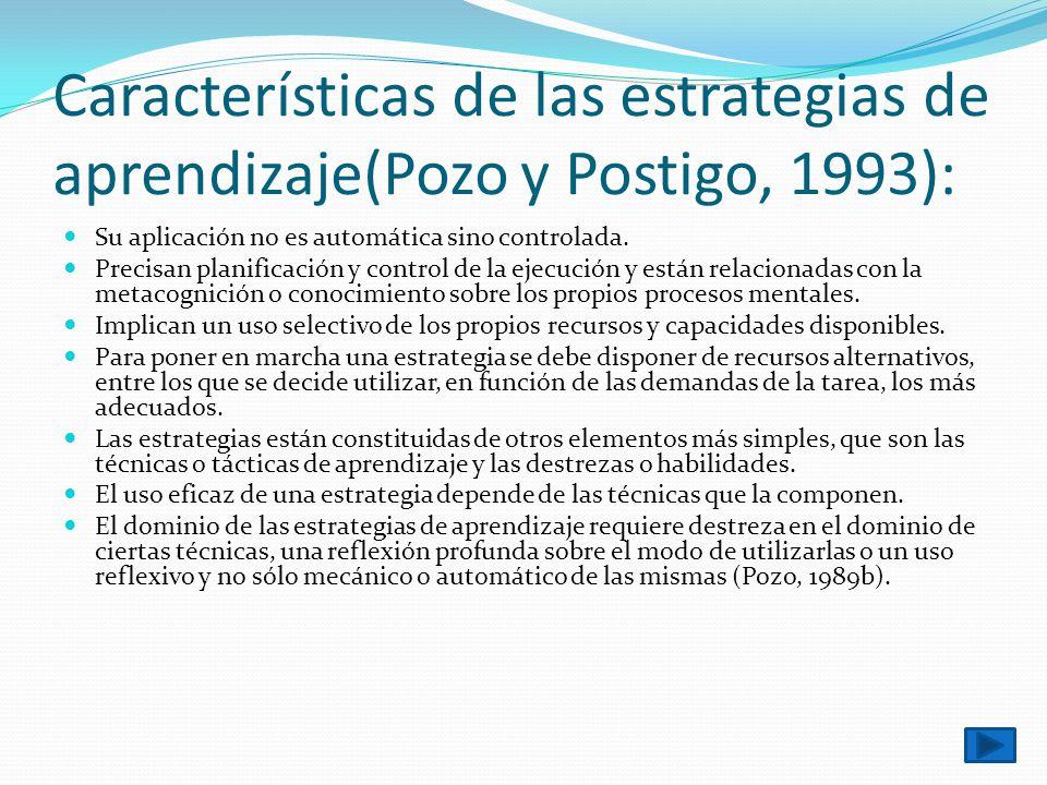 Características de las estrategias de aprendizaje(Pozo y Postigo, 1993):