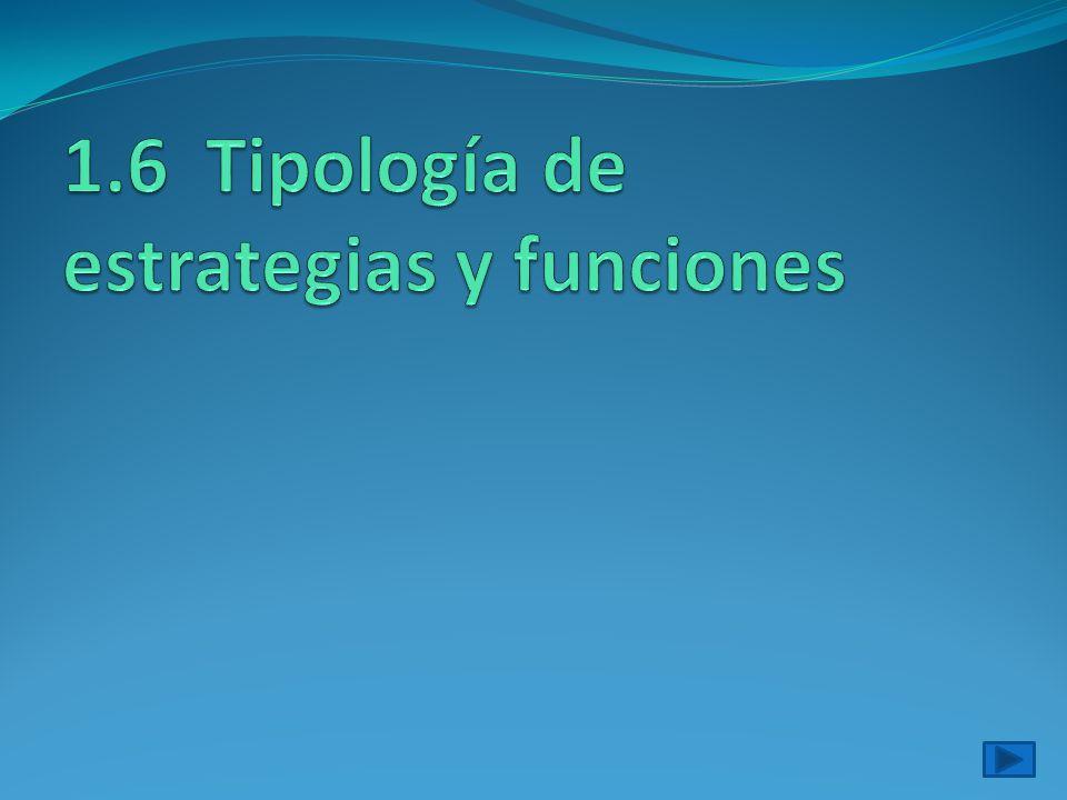 1.6 Tipología de estrategias y funciones