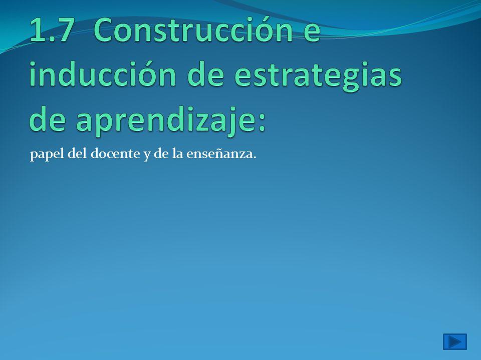 1.7 Construcción e inducción de estrategias de aprendizaje: