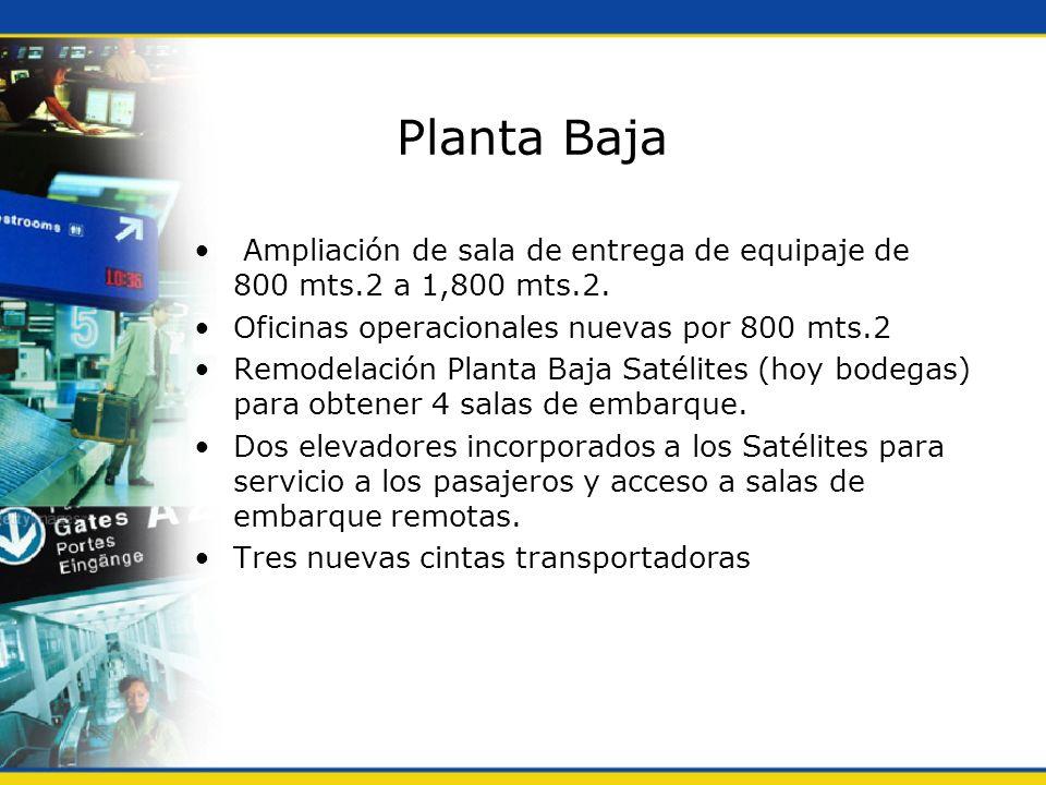 Planta Baja Ampliación de sala de entrega de equipaje de 800 mts.2 a 1,800 mts.2. Oficinas operacionales nuevas por 800 mts.2.