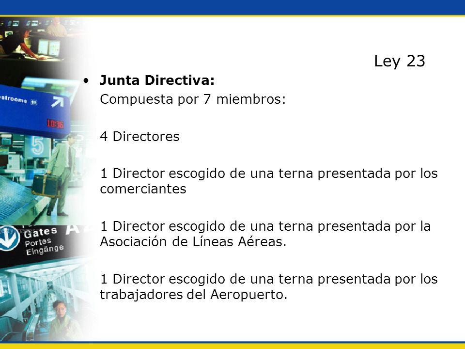 Ley 23 Junta Directiva: Compuesta por 7 miembros: 4 Directores