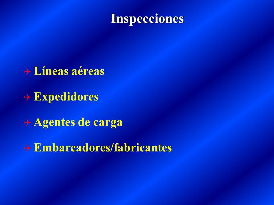 Inspecciones Líneas aéreas Expedidores Agentes de carga