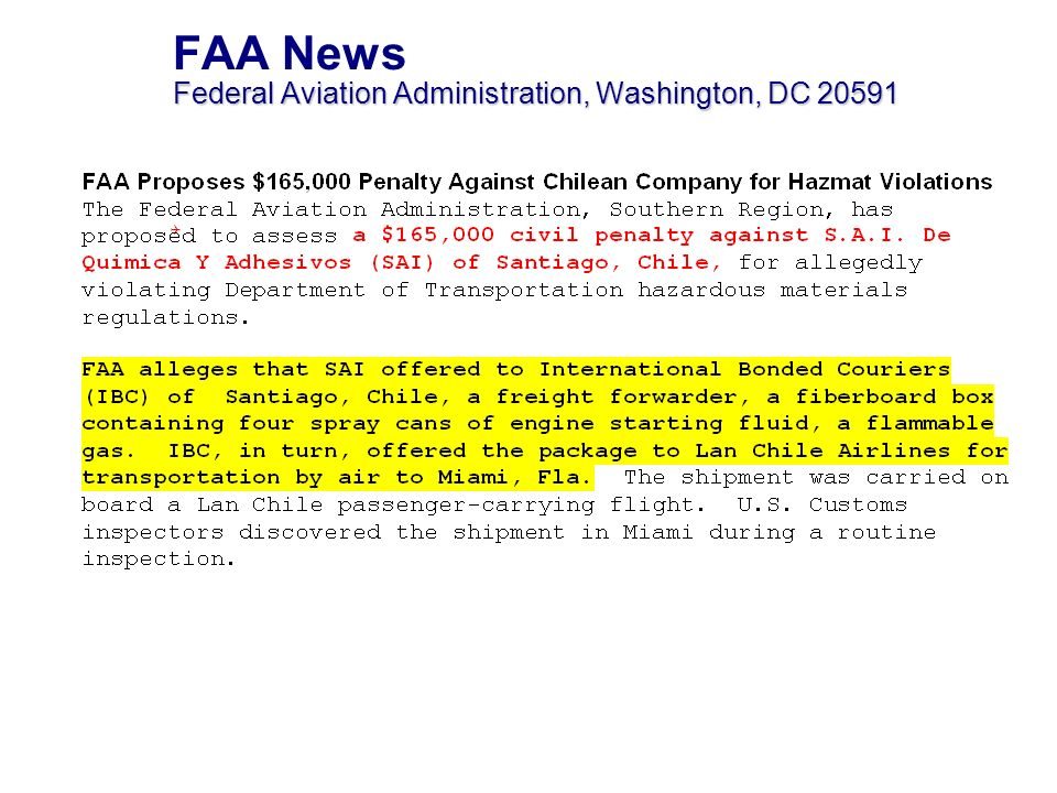 FAA News Federal Aviation Administration, Washington, DC 20591