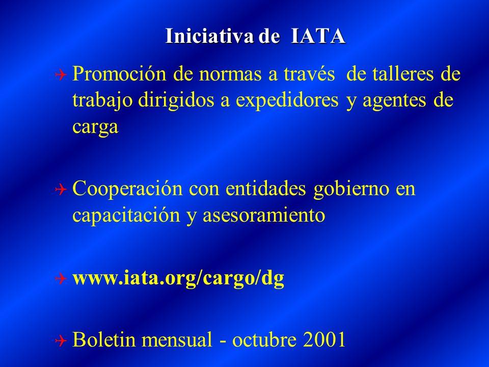 Iniciativa de IATA Promoción de normas a través de talleres de trabajo dirigidos a expedidores y agentes de carga.