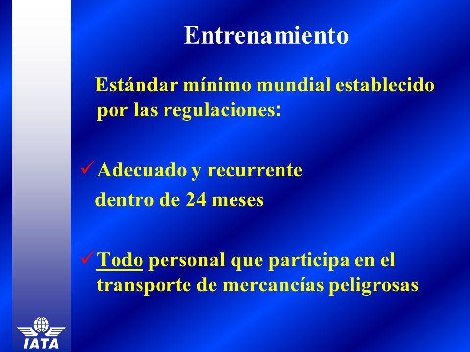 Entrenamiento Estándar mínimo mundial establecido por las regulaciones: Adecuado y recurrente. dentro de 24 meses.