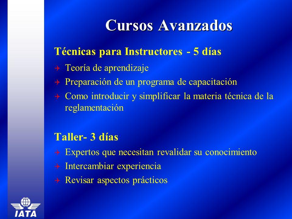Cursos Avanzados Técnicas para Instructores - 5 días Taller- 3 días