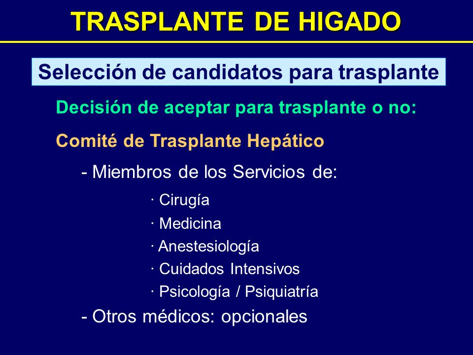 Selección de candidatos para trasplante