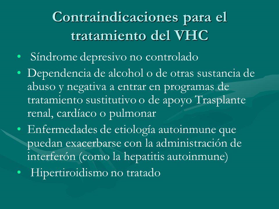 Contraindicaciones para el tratamiento del VHC