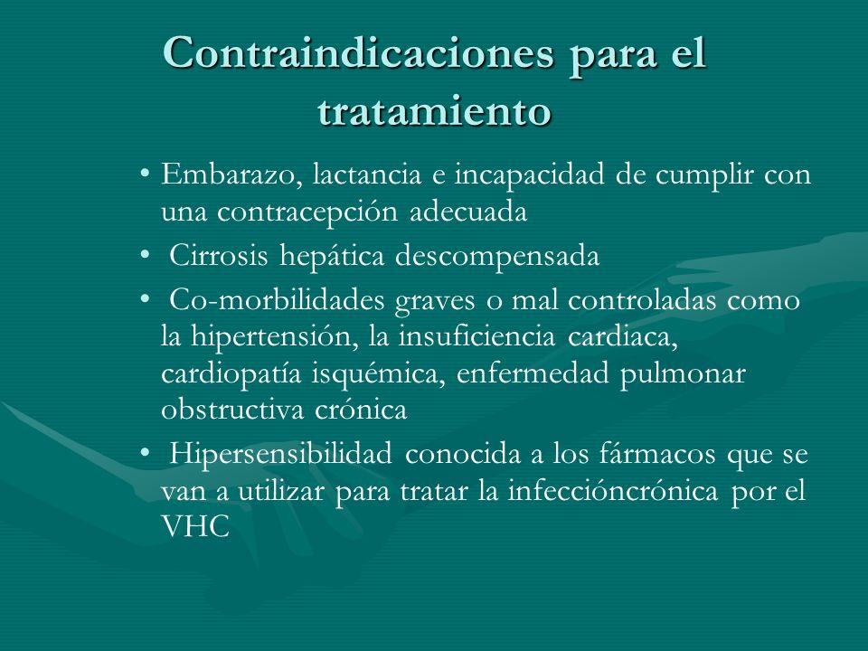 Contraindicaciones para el tratamiento