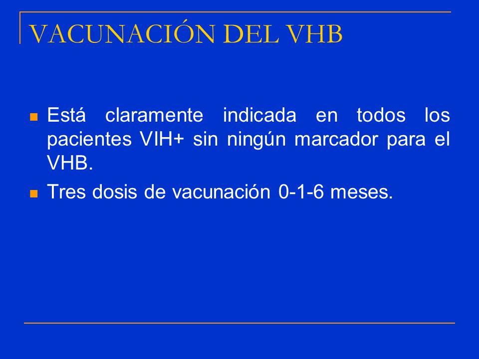 VACUNACIÓN DEL VHB Está claramente indicada en todos los pacientes VIH+ sin ningún marcador para el VHB.