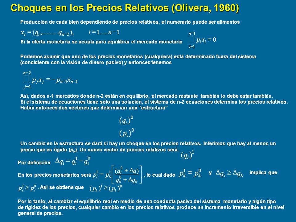 å Choques en los Precios Relativos (Olivera, 1960) å ) ( p q ) ( q p =