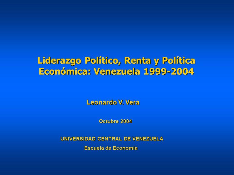 Liderazgo Político, Renta y Política Económica: Venezuela 1999-2004