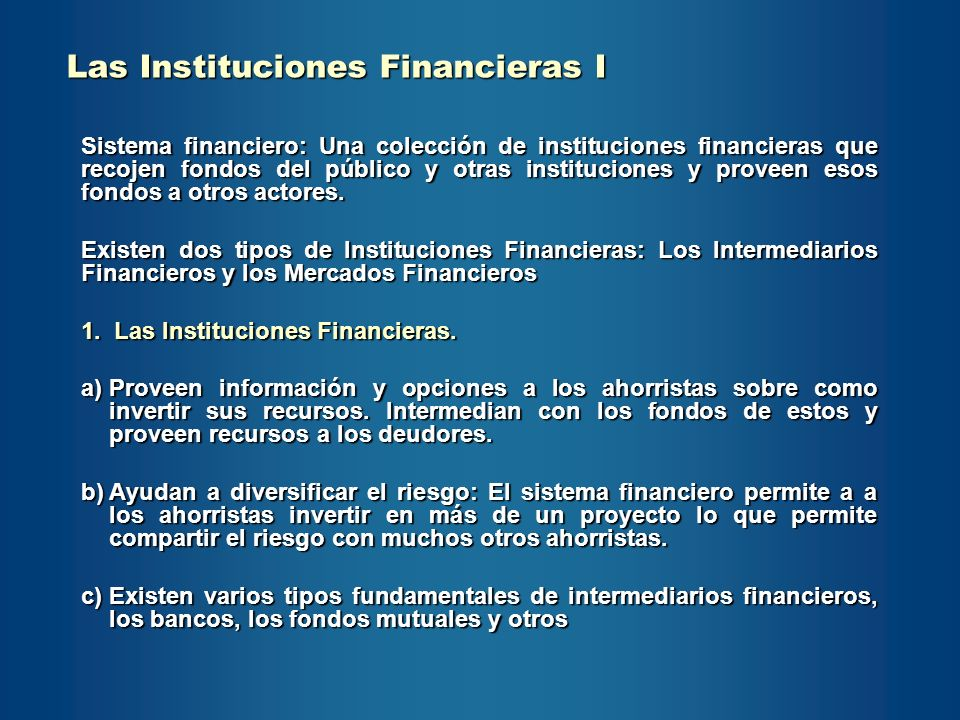 Las Instituciones Financieras I
