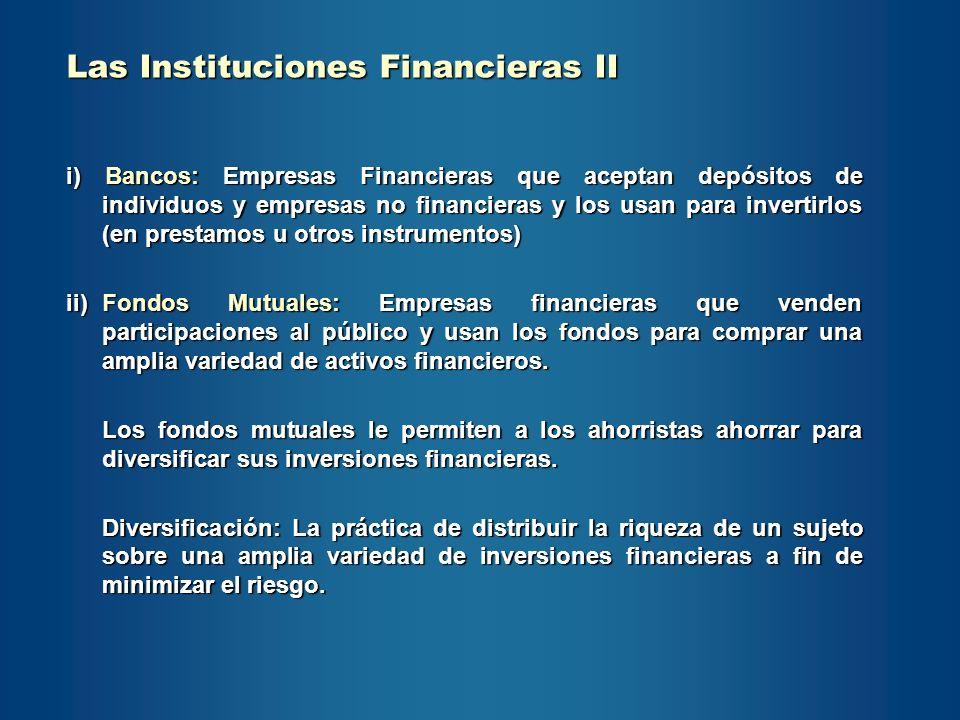 Las Instituciones Financieras II