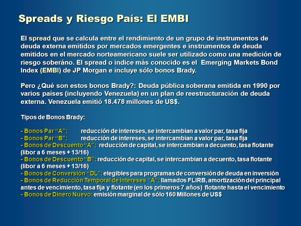 Spreads y Riesgo País: El EMBI