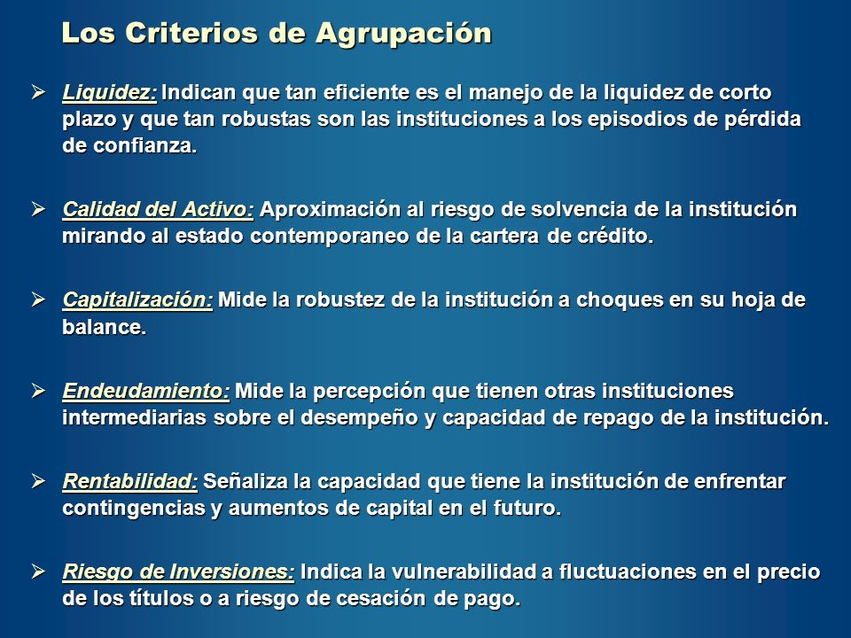 Los Criterios de Agrupación