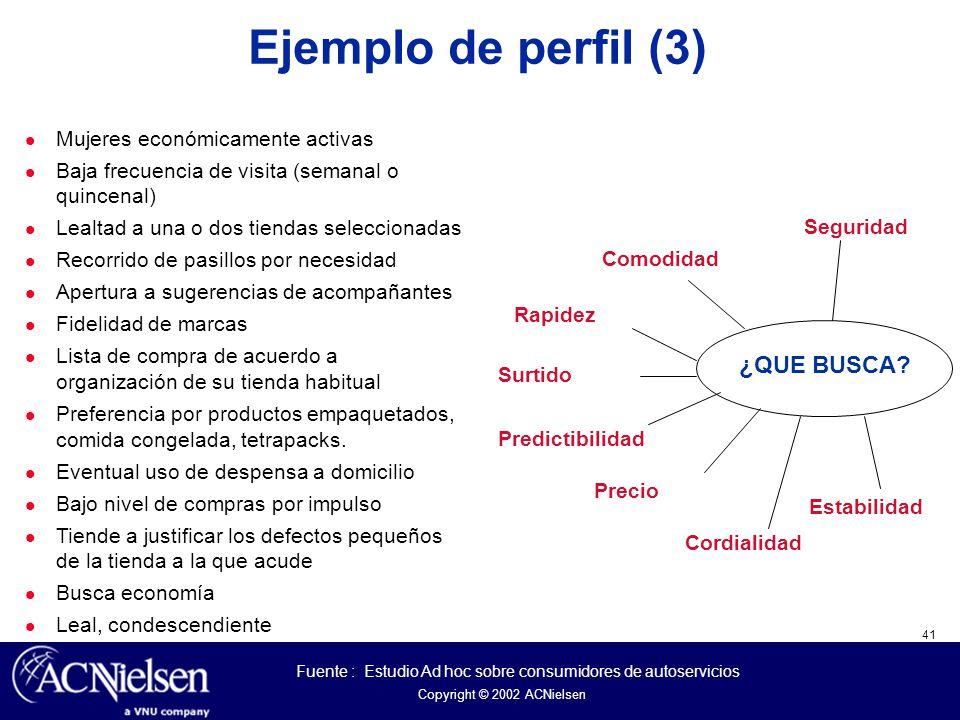 Ejemplo de perfil (3) ¿QUE BUSCA Mujeres económicamente activas